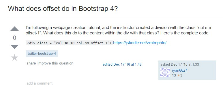 What does offset do in Bootstrap 4?