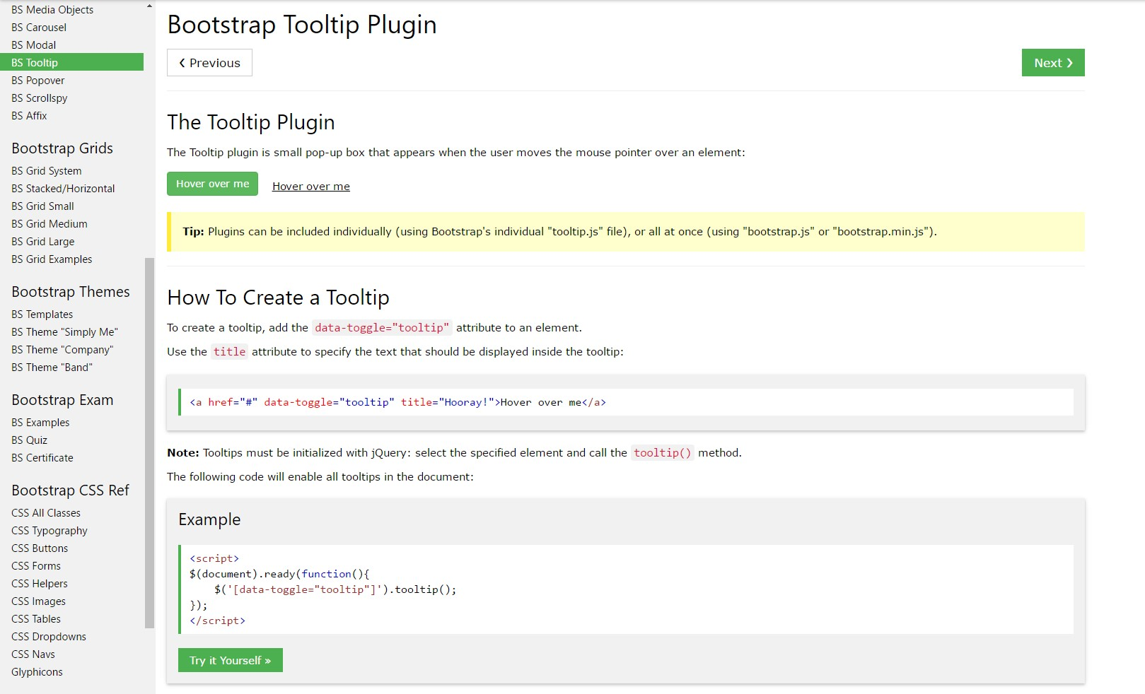 Bootstrap Tooltips  short training