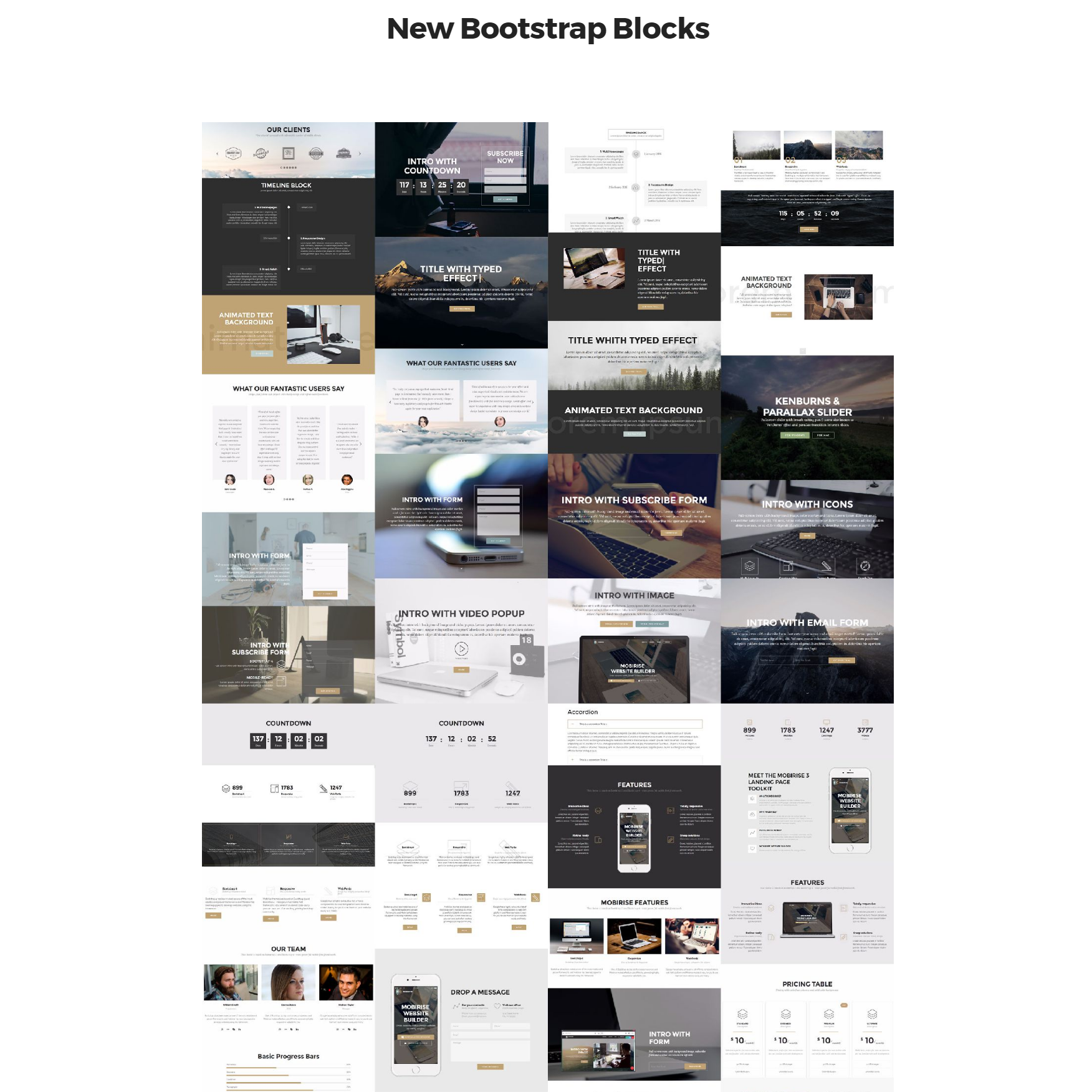 HTML5 Bootstrap 4 mobile-friendly blocks Templates