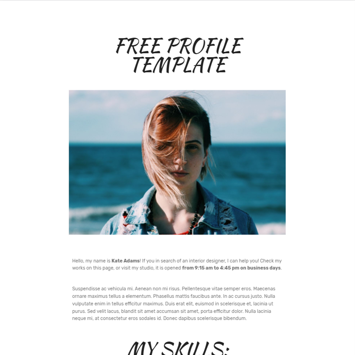 Responsive Bootstrap  Profile Templates