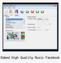 SWF into HTML embed high quality music facebook