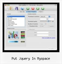 Embed FLV into HTML put jquery in myspace