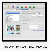 SWFobject Cache shadowbox to play vimeo tutorail